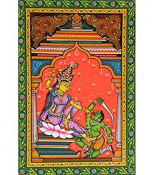 Durga as Bagalamukhi - Orissa Pattachitra Painting