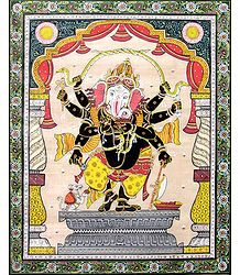 Eight Handed Black Ganesha