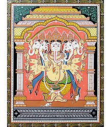 Panchamukhi Ganesha - Paata Painting on Patti