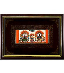 Jagannath, Subhadra, Balaram - Patachitra on Palm Leaf - Framed Wall Hanging