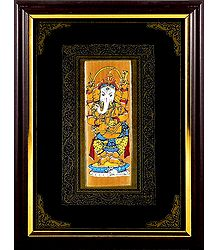 Lord Ganesha - Patachitra on Palm Leaf - Framed Wall Hanging