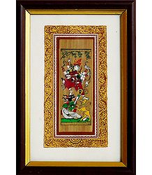 Goddess Durga - Patachitra on Palm Leaf