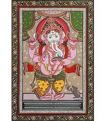 Lord Ganesha - Pata Painting on Patti