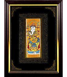 Lord Ganesha - Patachitra on Palm Leaf - Framed Wall Hanging