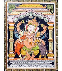 Ganesha with His Two Consorts Riddhi and Siddhi