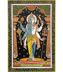 Shiva and Vishnu as Harihara - Orissa Pattachitra Painting on Canvas