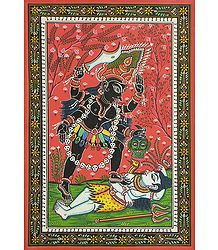 Goddess Kali - The Divine Mother - Pata Painting on Patti