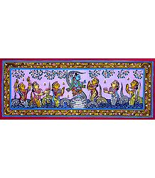 Kaliya Daman by Krishna - Patta Painting on Patti