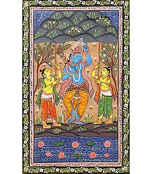 Krishna Lifts the Govardhan Mountain