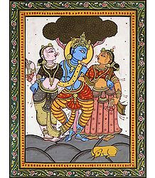 Krishna with Radha and Lalita