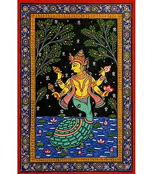 Kurma Avatar - Orissa Pattachitra Painting