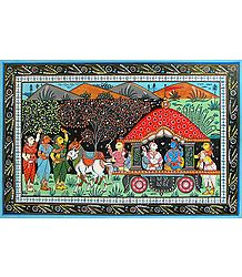 Lord Krishna and Balarama Depart from Vrindavan for Mathura with Gopinis Pleading for Them to Stay