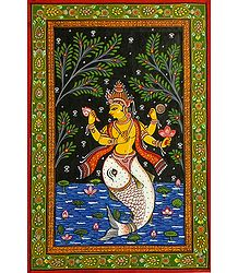Matsya Avatar - Orissa Pattachitra Painting