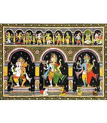 Dashavatar with Combined Forms of Ganesha - Hanuman, Shiva - Parvati  and Vishnu - Lakshmi with Their Vahanas