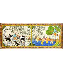 Cowherd Krishna with Gopis and Krishna Stolen Vastras of Gopinis - Scenes from Krishna Leela