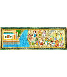 Hanuman and the Vanar Sena Build a Bridge of Rocks Across the Sea to Lanka - Scene from Ramayana