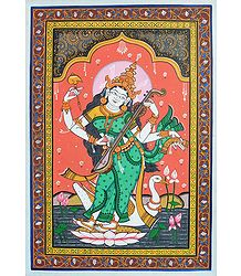 Orissa Pata Painting of Goddess Saraswati