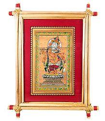 Lord Vinayak - Patachitra on Palm Leaf - Framed
