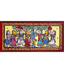 Radha Krishna with Gopinis - Patta Painting on Patti