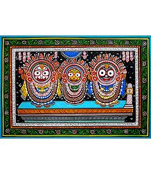 Jagannath, Balaram, Subhadra - Patta Painting on Patti