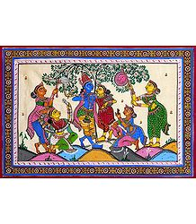 Radha Krishna with Gopinis - Patta Painting on Silk