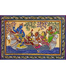 Nauka Vihar of Radha Krishna - Patta Painting on Silk
