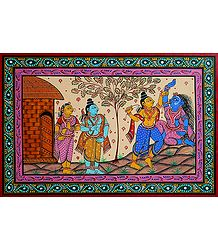 Lakshman Cuts Shurpanakha's Nose in Presence of Rama and Sita - Painting