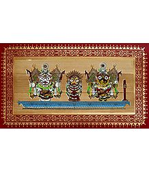 Jagannath, Subhadra, Balaram - Pattachitra on Palm Leaf