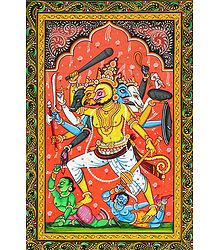 Panchamukhi Hanuman Killing Demons Mahiravana and Ahiravana to Rescue Rama and Lakshmana - Painting