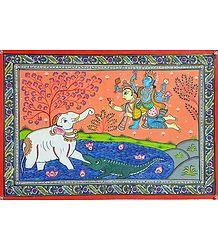 Gajendra Moksha - Vishnu Saves Gajendra from Demon Crocodile