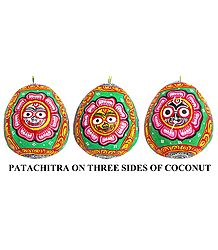 Lord Jagannath - Pata Painting on Three Sides of Hanging Coconut