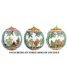Tales from the Begining of Ramayana - Pata Painting on Three Sides of Hanging Coconut