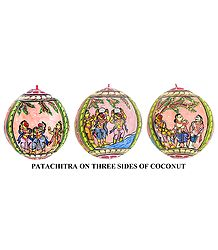 Kishkindha Kand from Ramayana - Pata Painting on Three Sides of Hanging Coconut