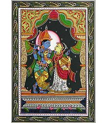 Radha Krishna - Pata Painting on Patti