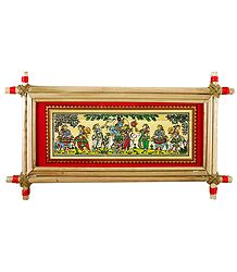 Radha Krishna with Gopinis - Patachitra on Palm Leaf - Framed