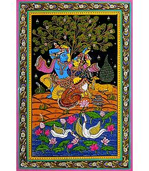 Radha Krishna - Patta Painting on Patti