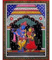 Radha Krishna - Pata Painting on Tussar Silk