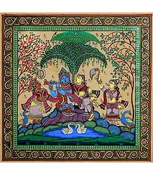 Radha Krishna - Patta Painting on Tussar Silk