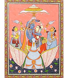 Radha Krishna Dancing On a Swan Boat Accompanied with Two Gopinis
