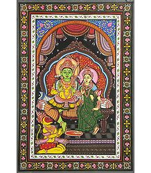 Lord Rama, Sita and Hanuman - Pattachitra Painting