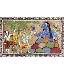 Rama Fighting Taraka - Patta Painting