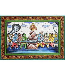 Samudra Manthan - Orissa Pattachitra Painting