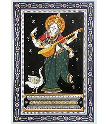 Saraswati Pata Painting on Patti