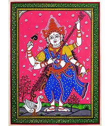 Goddess Saraswati - Patta Painting on Silk