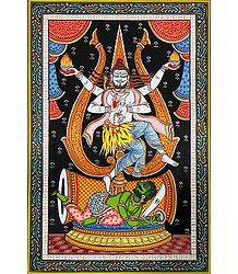 Shiva as Nataraja - Orissa Paata Painting on Canvas