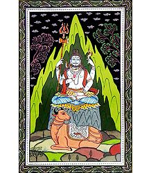 Meditating Shiva - Orissa Paata Painting on Canvas
