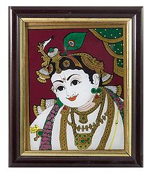 Krishna - Tanjore Glass Painting