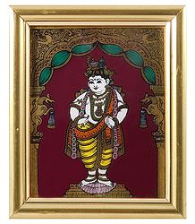 Murlidhara Krishna - Tanjore Glass Painting - Framed