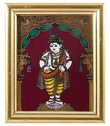 Murlidhara Krishna - Tanjore Glass Painting