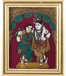 Radha Krishna - Tanjore Glass Painting